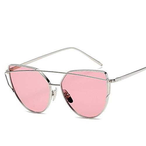 (LONYENMA Cat Eye Vintage Rose Gold Mirror Woman's Sunglasses Metal Reflective Flat Lens Tourism Sunglasses Multi-Color Style,A14)