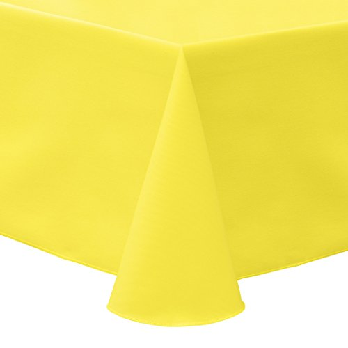 Ultimate Textile (5 Pack) Poly-cotton Twill 52 x 70-Inch Oval Tablecloth - for Home Dining Tables, Lemon Yellow by Ultimate Textile