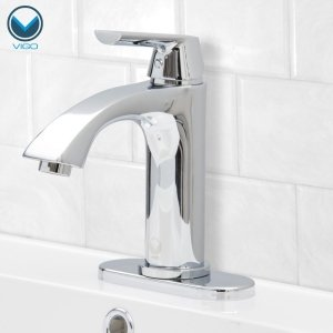 VIGO VG01028CHK1 Penela Single Handle Chrome Bathroom Faucet, Single-Hole Deck-Mount Install, Lavatory Faucet for Vanity Sink, Plated Seven Layer Finish