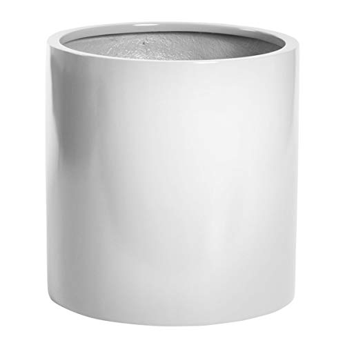 PurePots Round Cylinder Pot 2310, Large Planter & Plant Pot - Indoor & Outdoor| Hand Crafted Commercial Grade Fiberglass | UV Resistant Paint (Gloss White/Drainage Hole/X-Large)