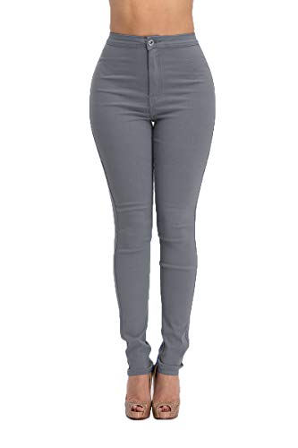 LOVER BRAND FASHION High Rise-Waisted Ladies Skinny Women Colored Denim Destroyed Ripped Distressed Jeans Pants for Women (M, Light Grey)