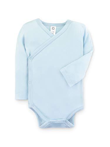 (Colored Organics Baby Organic Cotton Kimono Bodysuit - Long Sleeve Infant Side Snap Onesie - 3-6 Months Light Blue)