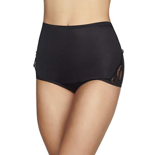 Vanity Fair Women's Plus Size Underwear Perfectly Yours Traditional Nylon Brief Panties, Midnight Black, 5X-Large (12) (Nylon Panties Plus Size)