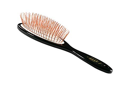 Bass Brushes Large/X-Long All Wire Brass Pin Cushion Pet Brush with Acrylic Handle by Bass Brushes