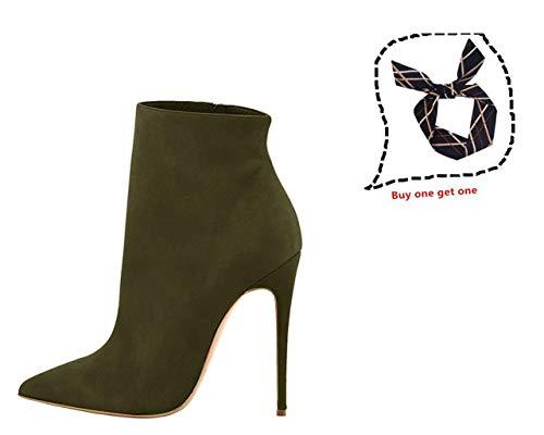 Alto Stiletto Stivaletti Punta A Partito Oliva Punta Sexy Verde Vestito Caviglia Donne A Scarpe Delle Lovirs Stivali Tacco Svq7xZwX