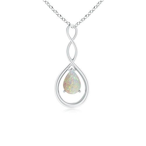 Angara Opal Infinity Loop Pendant in Platinum - October Birthstone Pendant IAlKg0Xw
