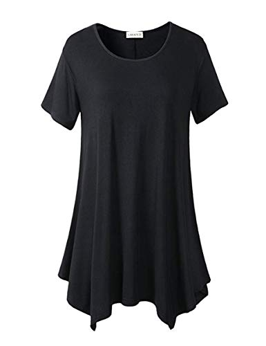 T-shirt Tee Large Denim - LARACE Womens Swing Tunic Tops Loose Fit Comfy Flattering T Shirt (5X, Black 1)