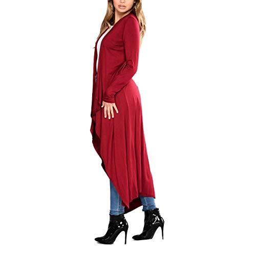 Maxi Solide couleur Manteau Cardigan Taille Le Zffde M Manches Sur Ouvert Longues Hiver Irrégulier Causal Femmes Rouge qO7O0Xx