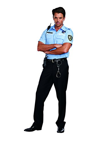 Dreamgirl Men's Prison Guard Hugh B. Guilty Costume, Blue, (Guard Costume)