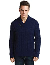 Men's Sweater Shawl Collar Cable Knit Pullover Knitwear