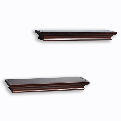 Decorative Wall Shelf Set Espresso Brown Finish Of 2pcs - Decorative Wall Shelf Unit