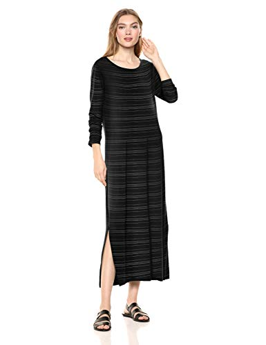 (Amazon Brand - Daily Ritual Women's Jersey Long-Sleeve Maxi Dress, Black-White Stripe, X-Small)