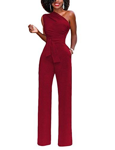 Plage Feelingirl Epaule De Pantalon Jumpsuits Femme Haute Ceinture Rouge Courte Taille Poche Combishort xxl Avec Dénudées Une Manches 1 S Été Combinaison rqrp0xS