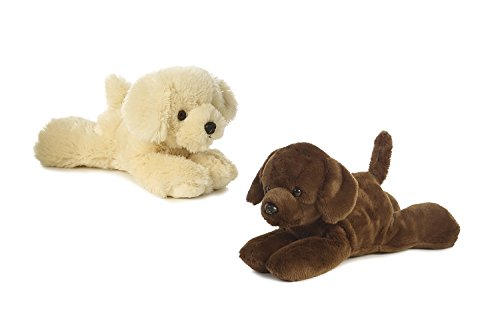 Bundle of 2 Aurora 8 Floppy Beanbag Dog Stuffed Animals - Golden Retreiver and Lil Lucky Chocolate Labrador