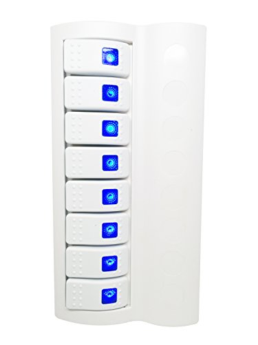 (Pactrade Marine Boat Switch Panel 8 Gang Blue LED Indicator Rocker Circuit Breaker, White)