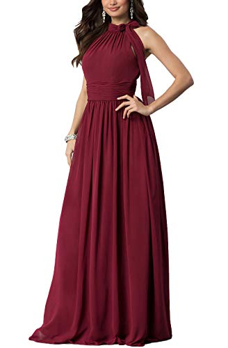 Aox Women's Formal Chiffon Sleeveless A Line Halter Long Maxi Party Evening Dress Skirt (M, Red)