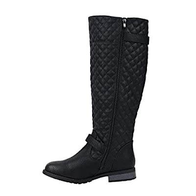 Kaptene Tamera-01 Womens Low Heel Mid Calf Qulted Shaft Fashion Boots | Mid-Calf