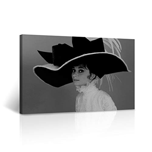Buy4Wall Audrey Hepburn Canvas Wall Art My Fair Lady Movie Black White Canvas Home Decorative Framed Artwork - Ready to Hang -%100 Handmade in the USA - 24x36 ()