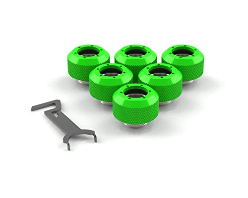 PrimoChill 1/2in. Rigid RevolverSX Series Fitting - 6 Pack - UV Green
