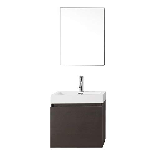Virtu USA Zuri 24 inch Single Sink Bathroom Vanity Set in Wenge w/Integrated Square Sink, White Polymarble Countertop, Single Hole Polished Chrome, 1 Mirror - JS-50324-WG ()