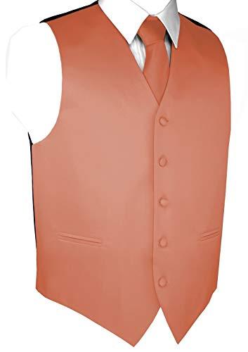 Italian Design, Men's Tuxedo Vest, Tie & Hankie Set - Peach - 6XL ()