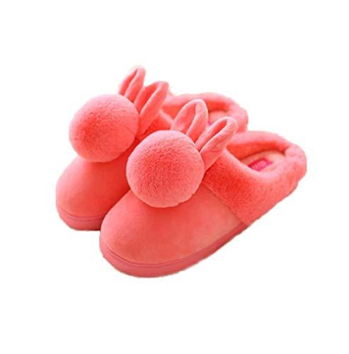Jungen Fond Automne Rouge Forme Oreille D'intérieur Hiver Lapin 1 5cm Pastèque Épais 41 Chaussons Pantoufles Chaudes De 40 Eu Peluche Chaussures Pompon FwBqrFA