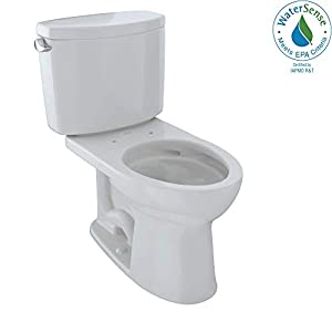 TOTO CST454CEFG#11 Drake II Two-Piece Elongated 1.28 GPF Universal Height Toilet with CEFIONTECT, Colonial White