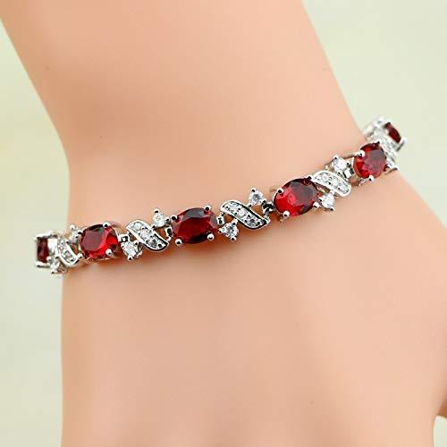 - Nattaphol Red Cubic Zirconia White CZ 925 Sterling Silver Jewelry Charm Bracelet for Women Box