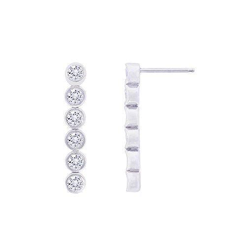 Platinum-Plated Sterling Silver Simulated Diamonds Bezel Set Linear Drop - Bezel Drop Set Earrings
