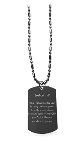 Joshua 1:9 Bible Verse - Luggage Metal Chain Necklace Military Dog Tag