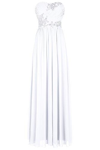 Bbonlinedress Vestido De Fiesta Madrina Boda Noche Largo De Gasa Escote Corazón Blanco