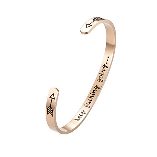 XBKPLO Trend Personality Women Bracelet Cuff Bangle Keep Going Stainless Steel Engraved Encouragement Accessories Jewelry