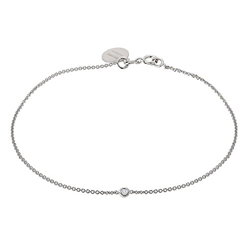 Tousi Jewelers Diamond Bracelet - Solid 14k or 18k White Gold - 0.05 Ct Dainty and Simple Solitaire Bezel Set -Free Personalized Initials Engraving for Women & Girls by TOUSI JEWELERS
