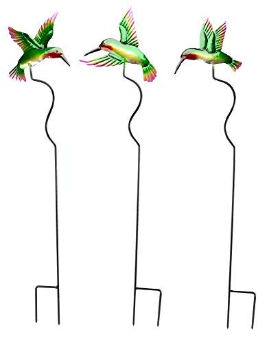 3 Stake Piece - The Paragon Hummingbird Outdoor Planter or Garden Stakes - 3 Piece Garden Yard Decorations