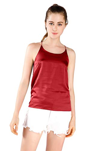 Wantschun Womens Silk Satin Camisole Cami Plain Strappy Vest Top Sleeveless Blouse Tank Shirt US Size L ;Red