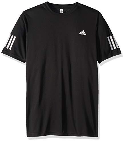 (adidas Youth Club 3-Stripes Tennis Tee, Black/White, Medium)