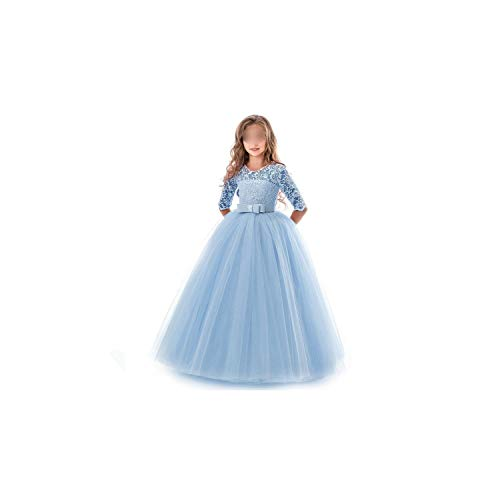 (Girl Costume Lace Half Sleeve First Communion Tulle Lace Wedding Princess Costume Teen,Blue,9)