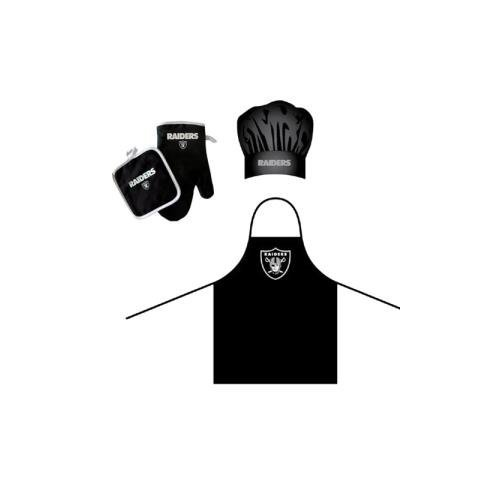 Oakland Raiders NFL Barbeque Apron, Chef's Hat and Pot Holder Deluxe Set