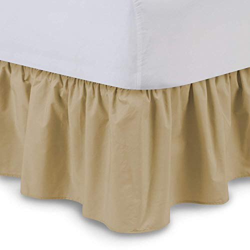 Ruffled Bedskirts - Cotton Bedskirt (King, Taupe)