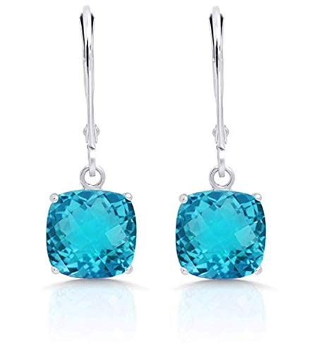 Certified 14k Yellow or White Gold Cushion Cut Gemstone Dangle Leverback Earrings (8mm)