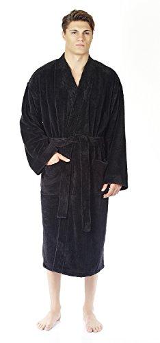 Arus Men's Kimono Fleece Bathrobe Turkish Soft Plush Robe, Black, XXL