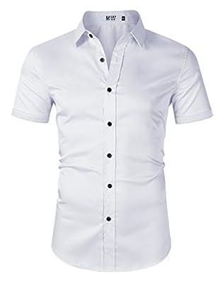 MrWonder Mens Dress Shirt Button Down Shirts Casual Slim Fit Bamboo Fiber Elastic Office Wedding Working Shirt