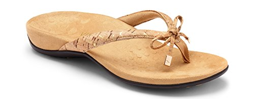 Vionic Women's Rest Bella II Toepost Sandal - Ladies Flip Flop with Concealed Orthotic Arch Support Gold Cork 7 M US