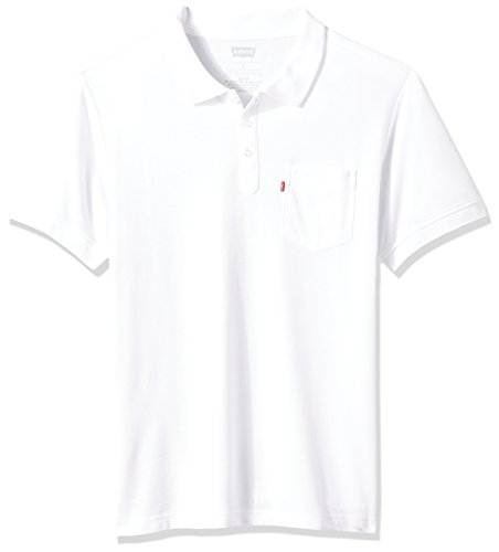 Levi's Men's Rillo Short Sleeve Pique Polo, White, Large