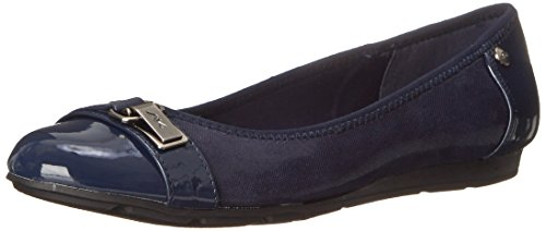 Anne Klein Sport Women's Able Fabric Ballet Flat, Navy, 7.5 M US