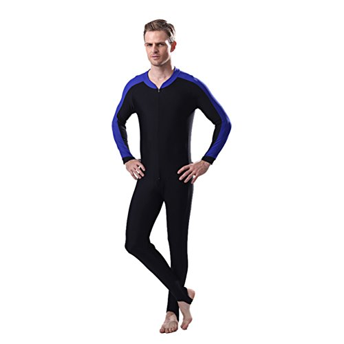 Men's One Piece Long Sleeve Swimsuit Surfing Full Body Sun Protection (Blue Black, - Piece Mens Swimsuit One