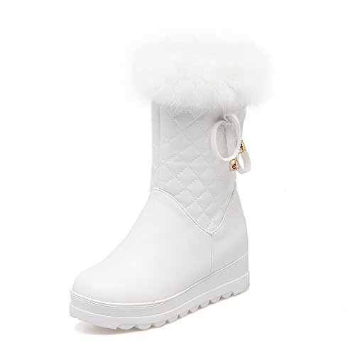 AllhqFashion Damen Reißverschluss Mittler Absatz PU Leder Rein Niedrig-Spitze Stiefel, Weiß, 36