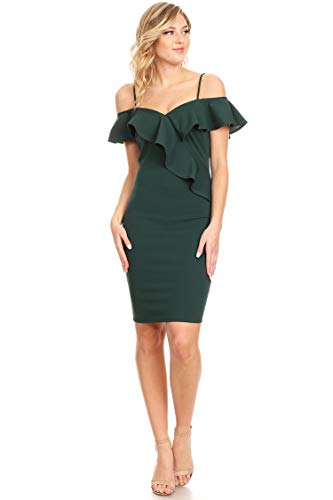 (Solid Casual Cold Shoulder Short Sleeve Bodycon Midi Ruffle Dress/Made in USA Hunter Green L)