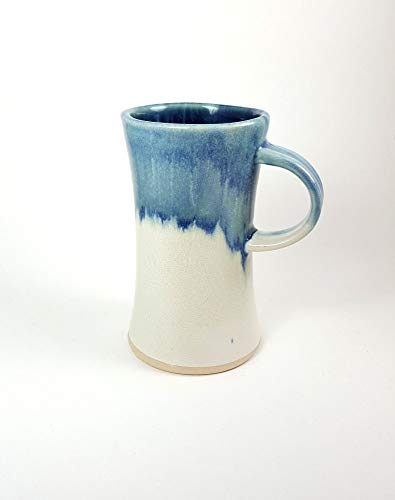 Blue Ceramic mug, stoneware mug, unique mug, wheel thrown pottery, beer stein, coffee mug, dark blue and white, storm blue, tall ()