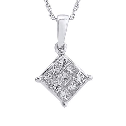 Diamond Square White Gold Pendant - 10k White Gold Diamond Square Cluster Pendant (1/4 cttw, H-I Color, I2-I3 Clarity), 18